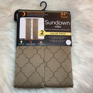 NEWBlack out 2 panel brown room darkening curtain